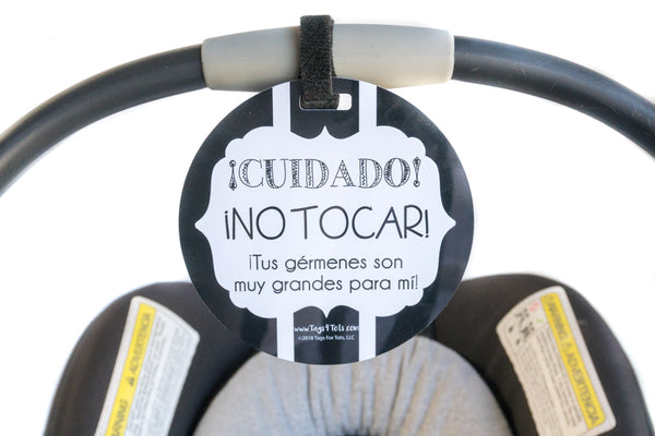 Spanish New baby No touching Car seat or stroller sign