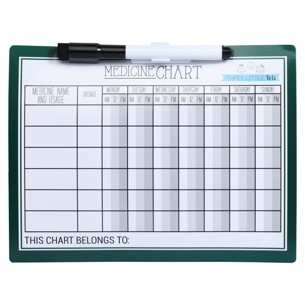Hunter Green - Kids Medicine Magnetic Refrigerator Chart with Marker