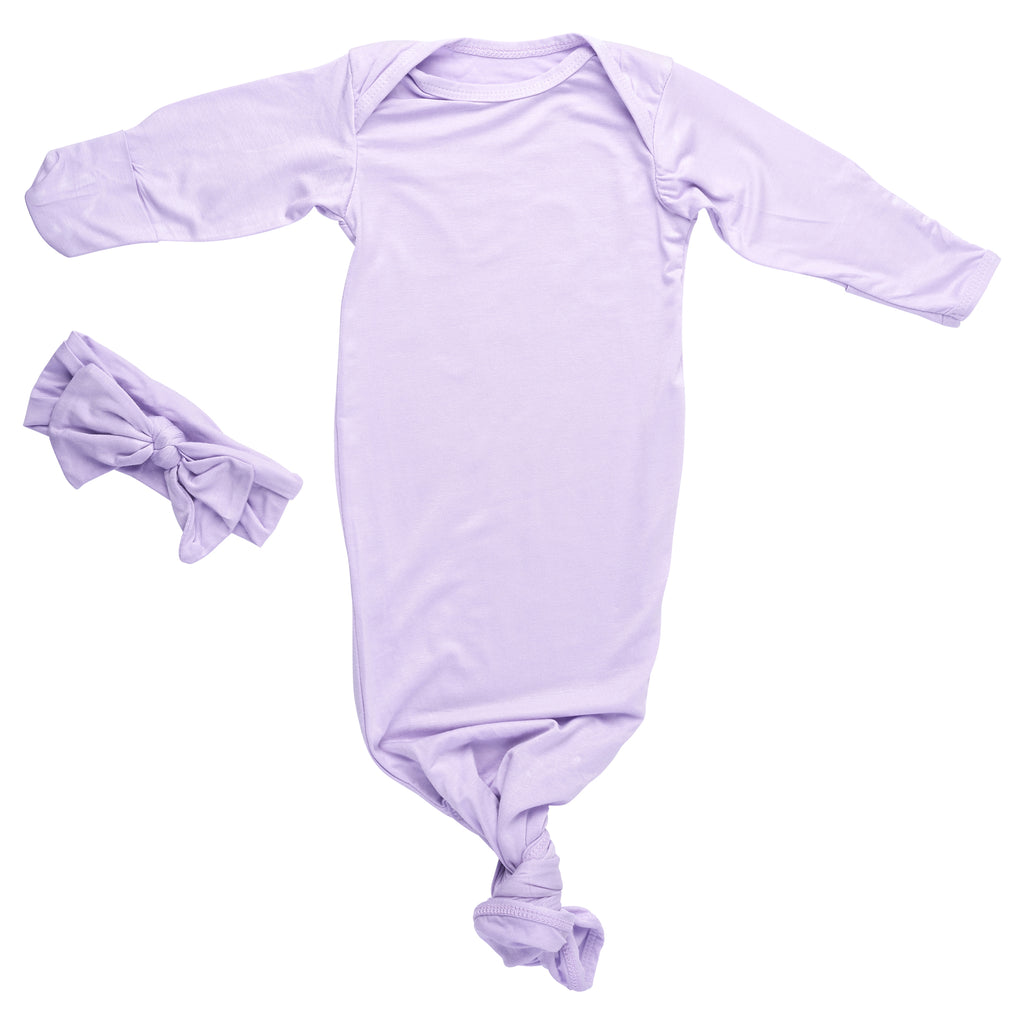 lavender purple knotted baby gown