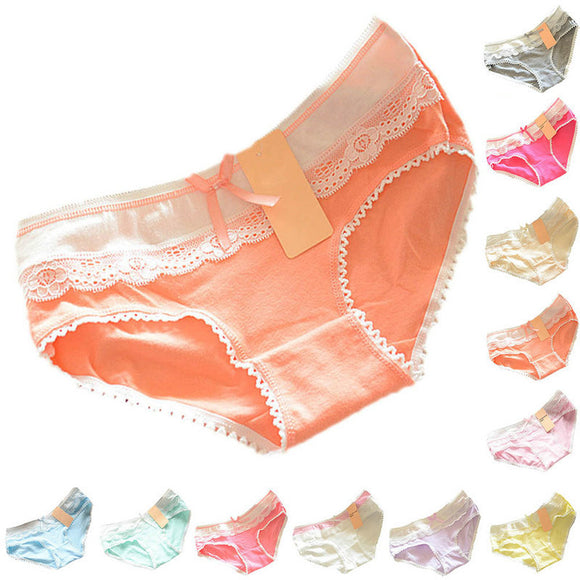 Ladies Multi-Color Cotton Soft Lace Bow-knot Underwear - secretnikki