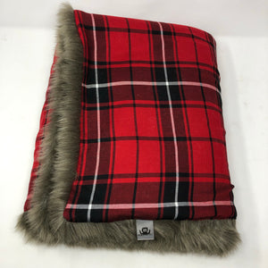 Red Plaid Faux Fur Blanket