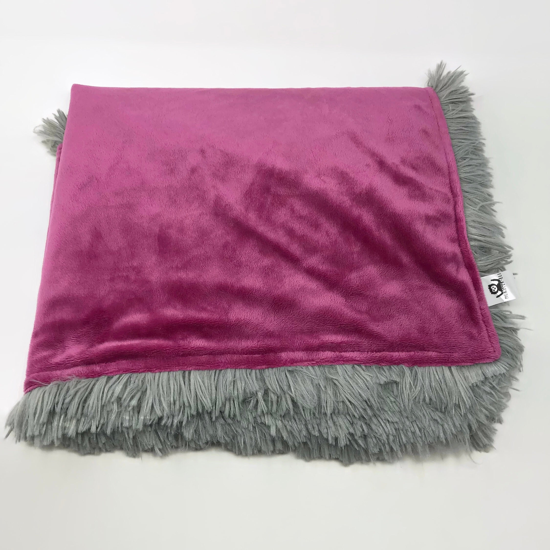 Smooth Raspberry & Minky Shag Blanket