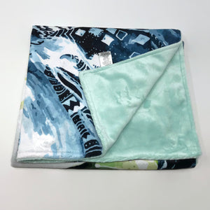 Abstract Blue Minky Blanket