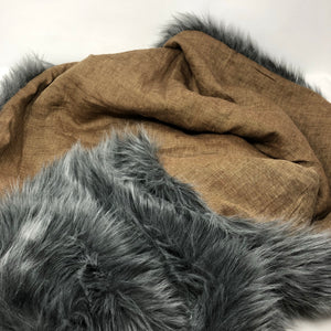 Mustard Linen (Grey) Faux Fur Blanket