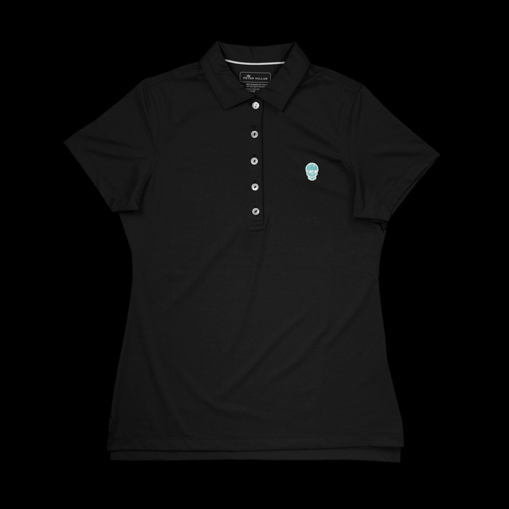 Women's Black Tiffany Skull Polo
