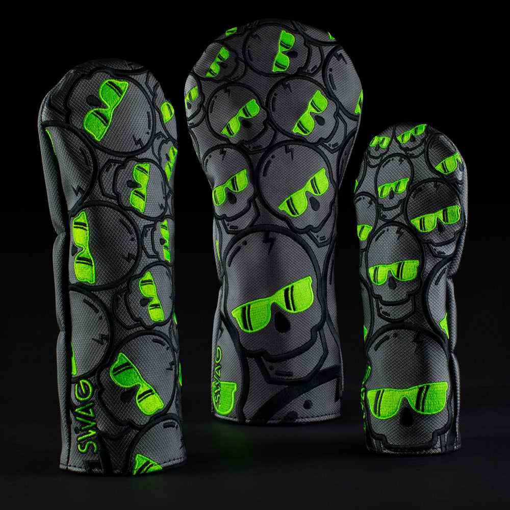 Ecto Green Concentric Skulls Wood Cover Set