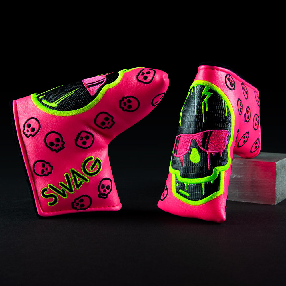 Neon Pink Dripping Skull Cover