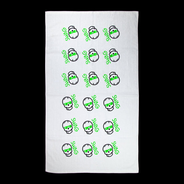 Skull Pattern Lime Towel