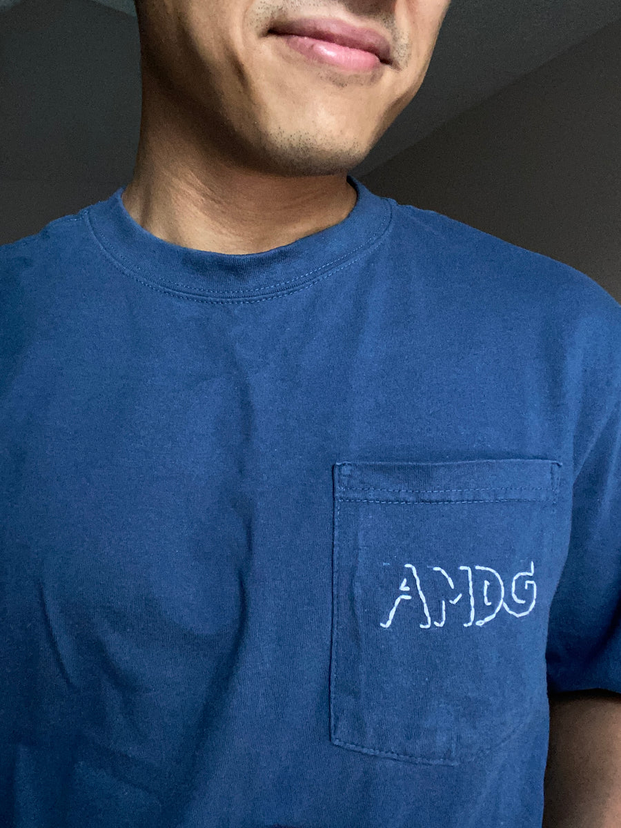 Blue AMDG x Thrifted+Threaded POCKET TEE