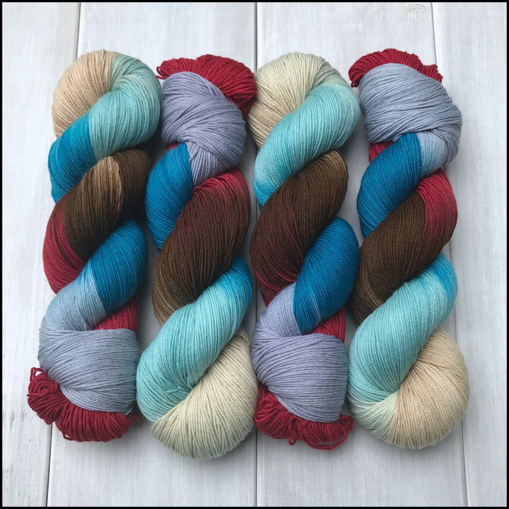Handpainted Pakokku Sock Yarn - 'Shark Week'
