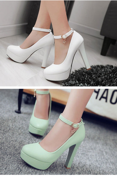 Meotina Women Platform Shoes High Heel Shoes Pumps Spring Ankle Strap Extreme High Heels Sexy Wedding Bridal Shoes White Purple