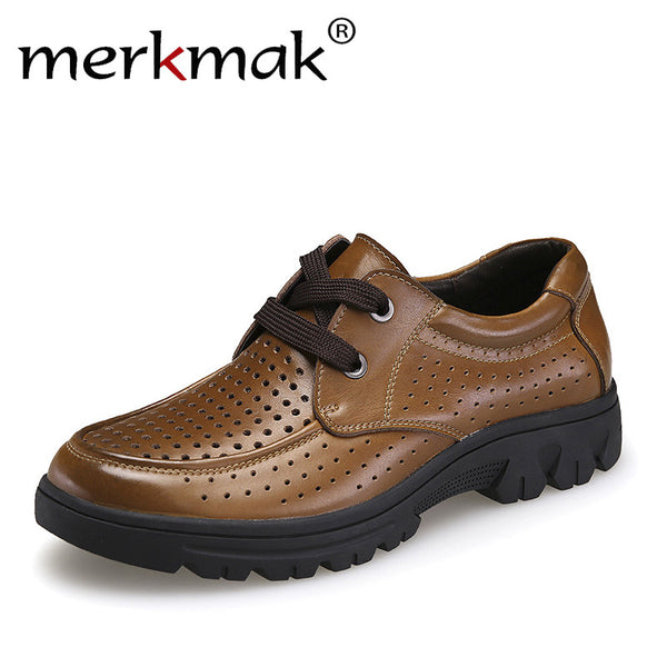 Merkmak Big Size 37-50 Fashion Handmade Brand Genuine leather Men Shoes Soft Leather Men Male Summer Footwear Breathable Holes