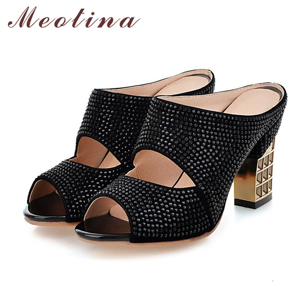 Meotina Promotion Sexy Women Shoes Summer Peep Toe Slides Party Evening Chunky High Heels Slipper Crystal Silver Ladies Slides