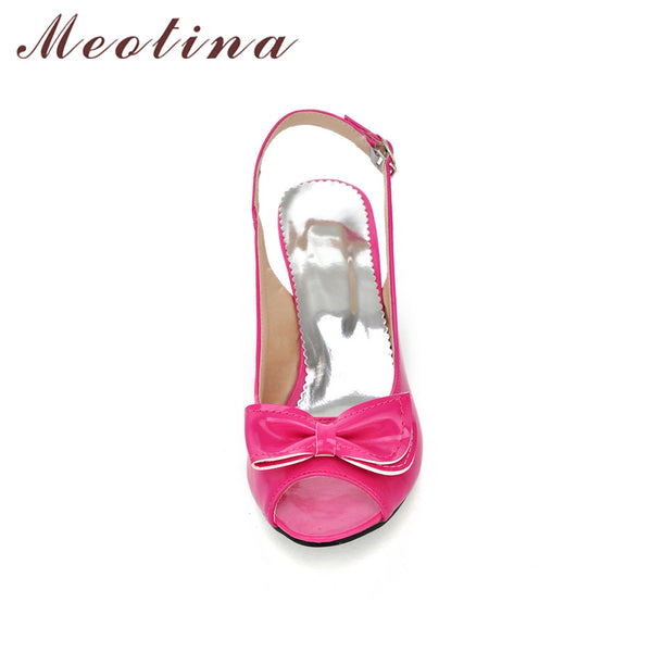 Meotina Women Sandals Summer Shoes Woman Sandals Peep Toe High Heels Shoes Bow Ladies Heel Sandals Yellow Large Size 11 12 45 46