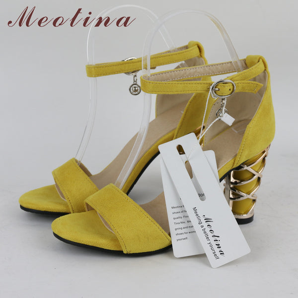 Meotina Shoes Women Sandals Ankle Strap High Heels Design Thick High Heel Party Shoes Sandals Yellow Black Large Size 11 45 46