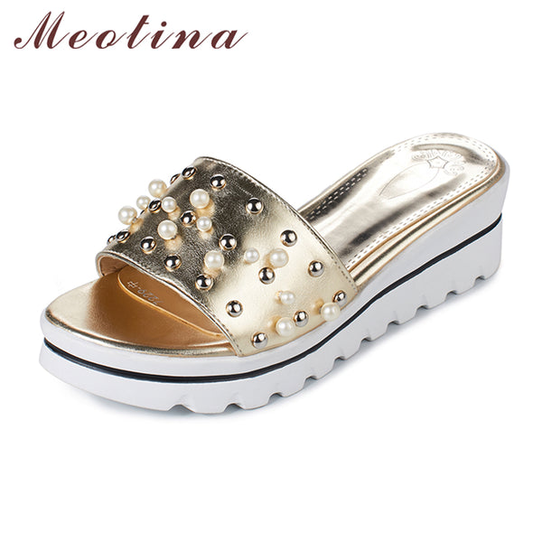 Meotina Women Sandals Summer Platform Sandals Platform Wedge Slippers Open Toe Rivet Ladies Slippers Gold Red Plus Size 9 10 42