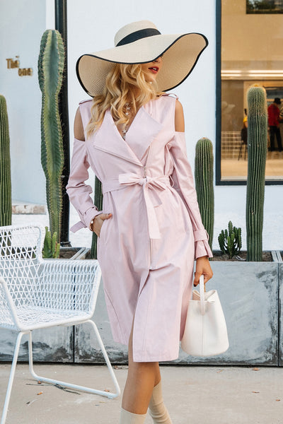 Women's Pink Long Trench Coats