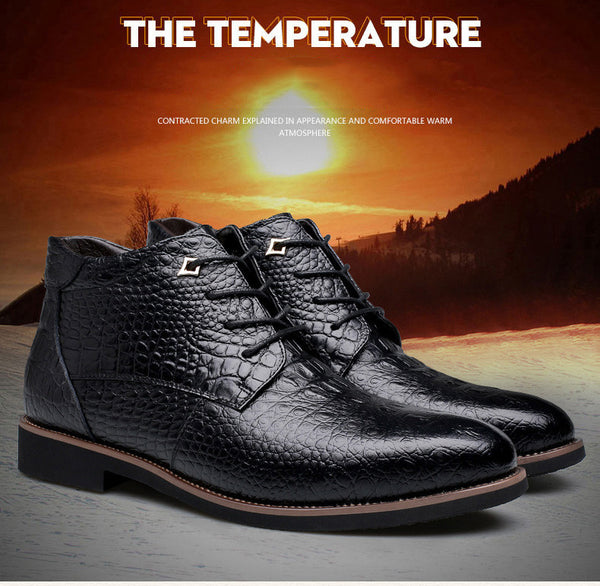 Merkmak Luxury Brand Men Winter Boots Warm Thicken Fur Men's Ankle Boots Fashion Male Business Office Formal Leather Shoes