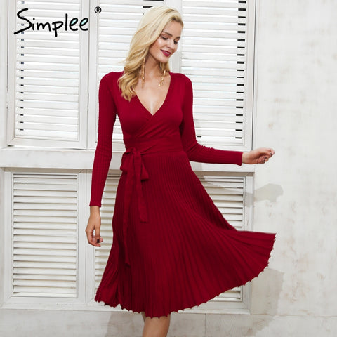Simplee Vintage ruffle autumn winter dress women Bow sash sexy dress Deep V elastic long sleeve sweater dress vestidos de fiesta