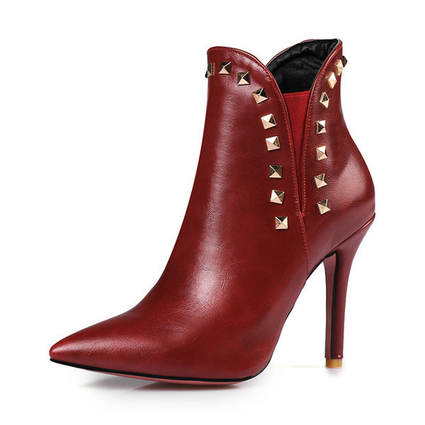 Meotina Ankle Boots Women Rivets Thin High Heel Boots Pointed Toe Ladies Boots Sexy Autumn Shoes Plus Size 12 46 Wine Red White