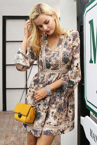 Printed V-Neck Women's Long Sleeve Dress
