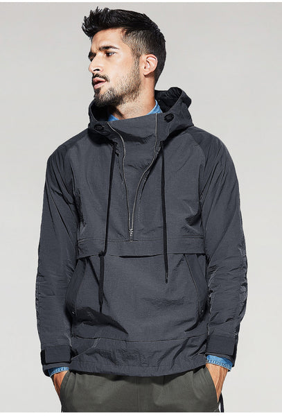Men's Pullover Trench Hooded Jackets