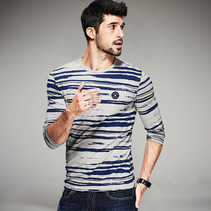 Blue Striped Men's Fashion T-Shirts