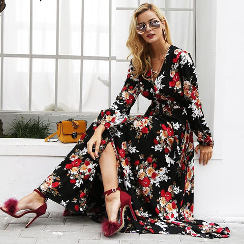 Elegant V-Neck Printed Women's Maxi Dress