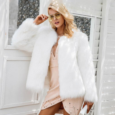 Casual furry Faux Fur Women's Coats