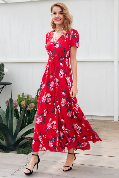 Simplee Floral print red long dress women Short sleeve v neck maxi dress 2018 Spring beach summer dress female vestidos