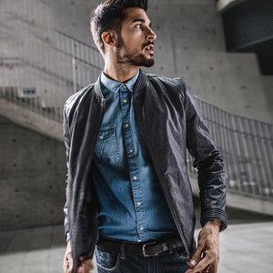 Men's Gray Color Pu Leather Jackets