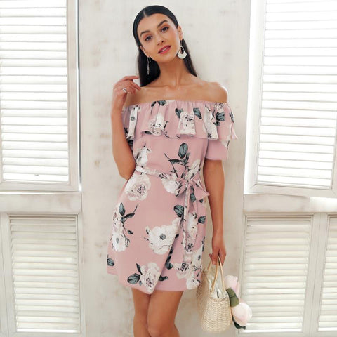 Ruffle Off Shoulder Women's Summer Dress