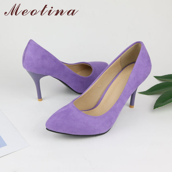 Meotina Shoes Women High Heels Pumps Flock Pointed Toe Women Pumps Ladies Shoes Thin High Heel Large Size 9 10 43 Blue Purple