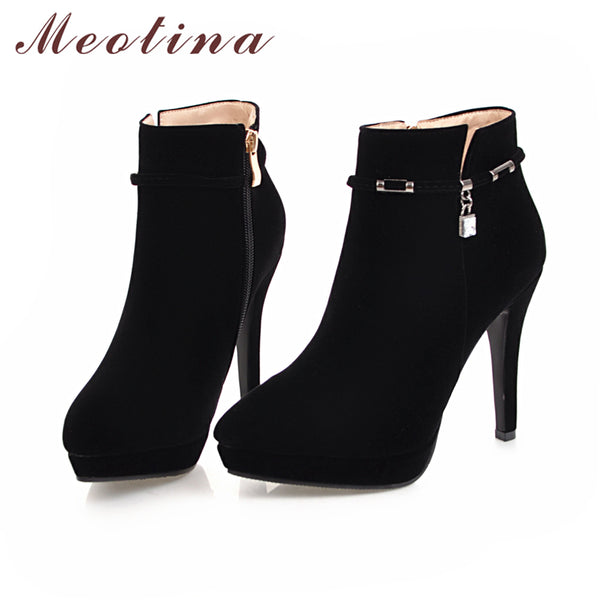Meotina Women Spring Boots High Heel Ankle Boots Zip Platform Shoes Pointed Toe Ladies Sexy Velvet Boots 2018 Red Black 34-43