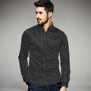 Velvet Striped Men's Fashion Luxury Shirts