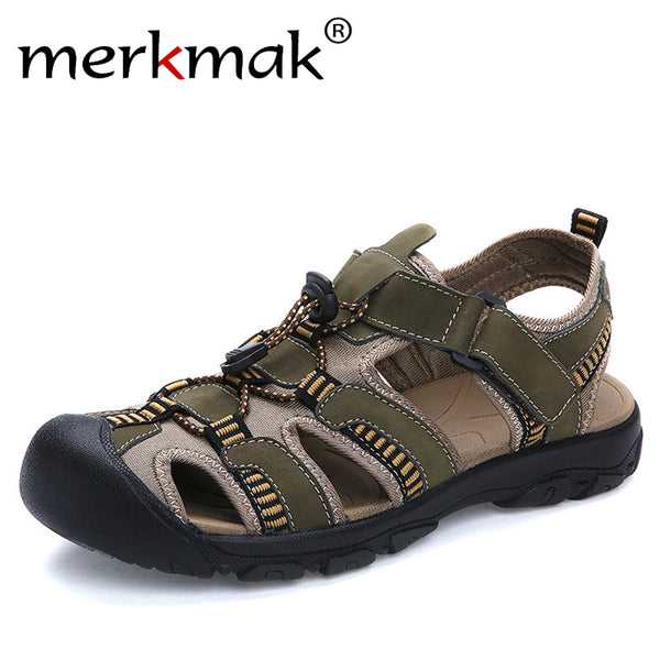 Merkmak Large Size 38-47 Summer Men Sandals Genuine Leather Breathable Shoes Men Outdoor Walking Casual Beach Sandal Shoes