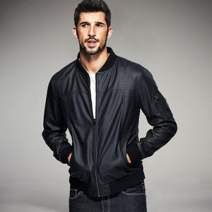 Pu Leather Black Men's Fashion Jackets