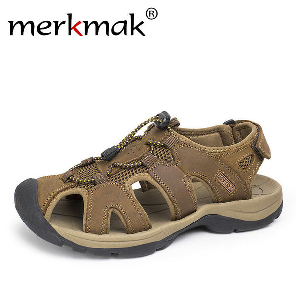 Merkmak Plus Size 38-46 Men Sandals Genuine Leather Fashion Summer Men Slippers Breathable Men's Sandals Causal Shoes Outdoor