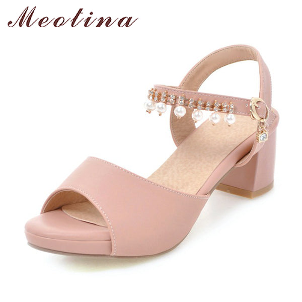 Meotina Women Platform Sandals 2018 Summer Shoes Thick High Heels Ankle Strap Pearls Party Shoes Pink Peep Toe Shoes Size 33-43
