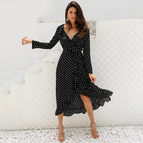 Polka Dot Ruffle Black Womens Maxi Dress