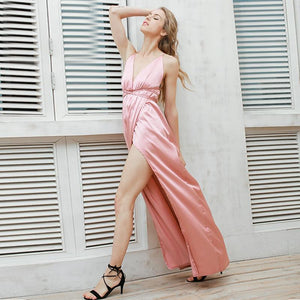 Satin Backless Womens Sexy Dress