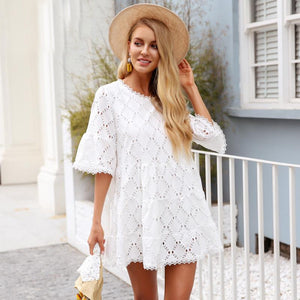 Flare Sleeve Womens White Lace dress