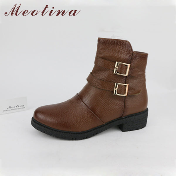 Meotina Brand Genuine Leather Ankle Boots Women Martin Boots Shoes Real Leather Female Buckle Blcok Low Heel Boots Buckle Shoes