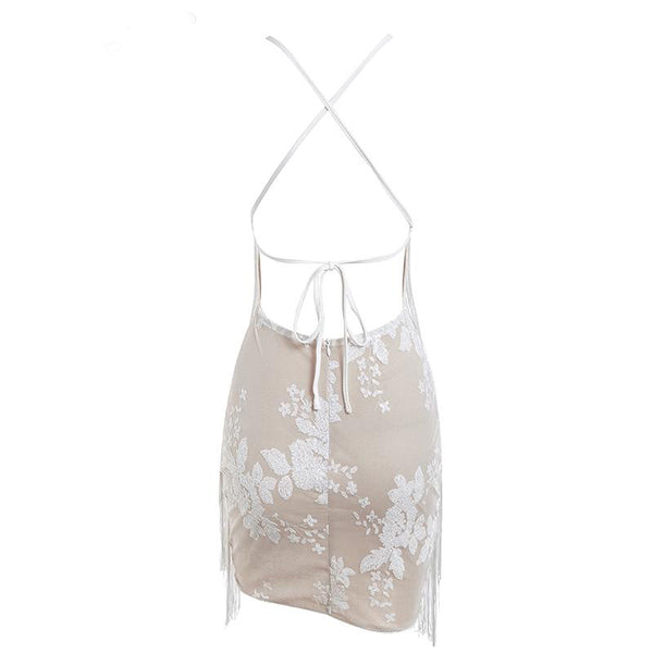 Sequin Halter Embroidery Mini Dress
