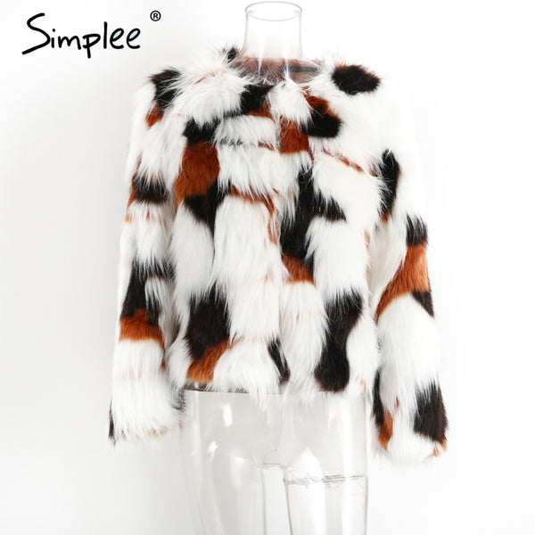Simplee Elegant Fluffy faux fur coat women Warm long sleeve 2017 female outerwear Chic autumn winter coat jacket hairy overcoat