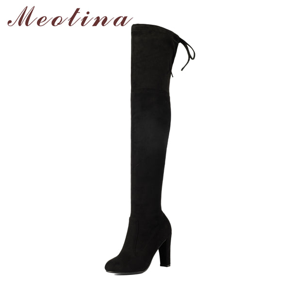 Meotina Women Shoes Winter High Heels Over the Knee Boots Sexy Lace Up Flock 2018 Autumn Shoes Black Stiletto Long Boots Size 42