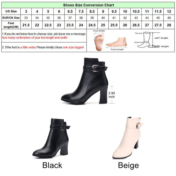 Meotina Winter Ankle Boots for Women Chunky High Heel Boots Buckle Martin Boots Zipper Fashion Female Footwear Beige Black 34-43