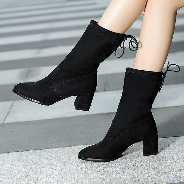 Meotina Mid Calf Boots Shoes Women Winter Pointed Toe Square Heel Boots Fashion Bow Female Footwear Autumn White Black Size 9 10
