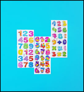 Puffy Number Stickers