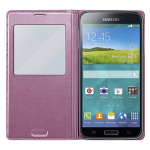 Samsung Galaxy S5 S-View Flip Cover Vegan Leather S View Case S 5 - Henton - Shop Hentons